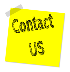 DGMEFM contact us image of yellow post-it with the words Contact Us