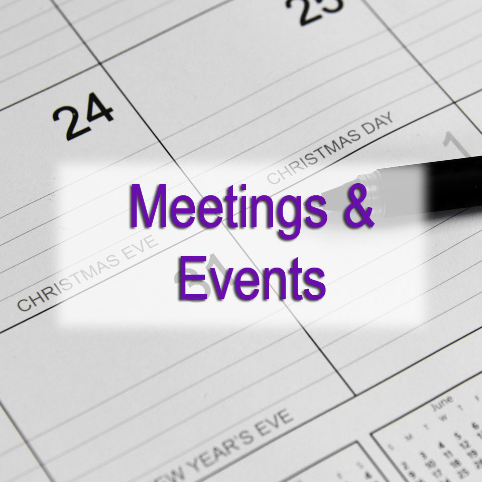DGMEFM Meetings and Events image of calendar and pen