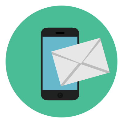 DGMEFM newsletters graphic of smartphone with envelope